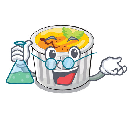 Professor creme brule in white cartoon bowl vector illustration Çizim