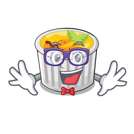 Geek creme brule in white cartoon bowl vector illustration