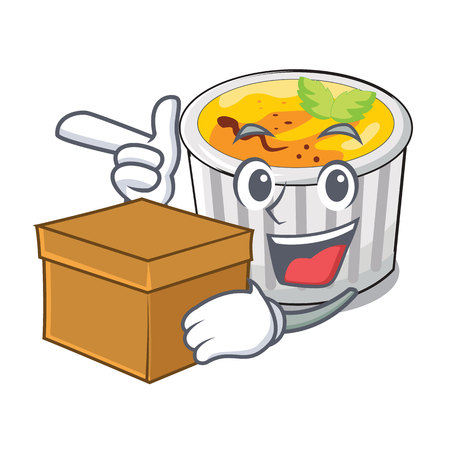 With box creme brule in white cartoon bowl vector illustration