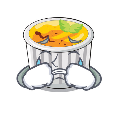 Crying creme brulee on wooden character table vector illustration