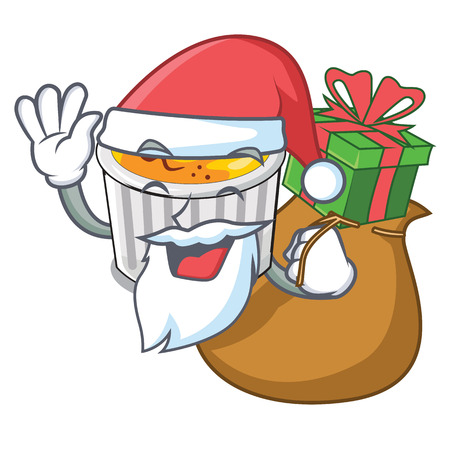 Santa with gift creme brulee served on mascot plate vector illustration