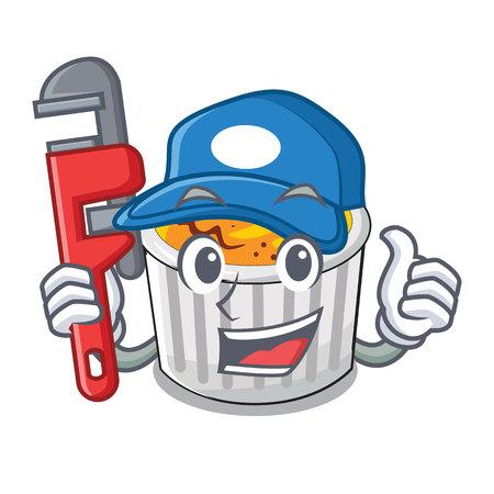 Plumber creme brulee served on mascot plate vector illustration