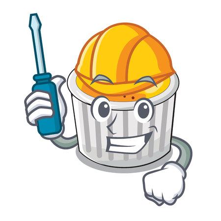 Automotive creme brulee served on mascot plate vector illustration