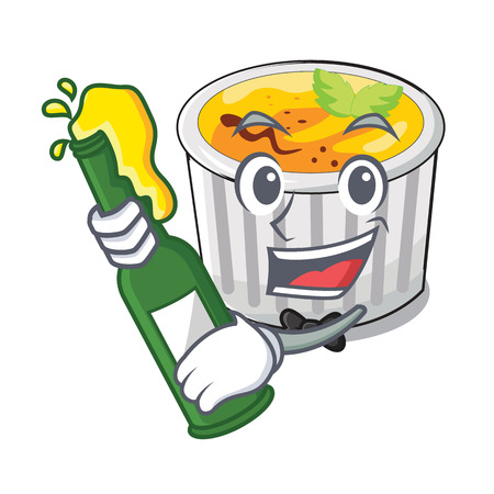 With beer creme brulee served on mascot plate vector illustration