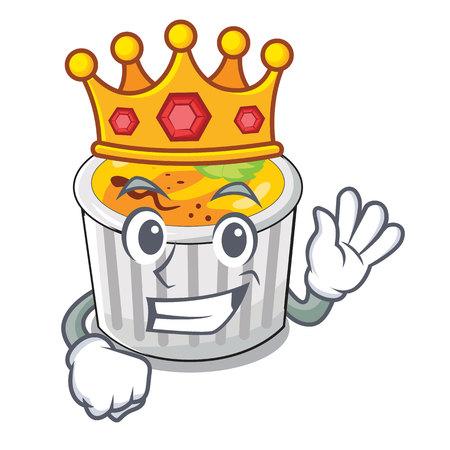 King creme brulee served on mascot plate vector illustration