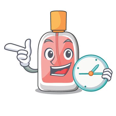 With clock parfum botlle shape on the cartoon vector illustration