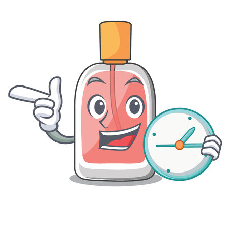 With clock parfum botlle shape on the cartoon vector illustration
