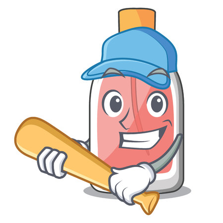 Playing baseball perfume in the a cartoon bottle vector illustration