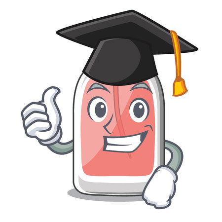 Graduation parfum botlle shape on the cartoon vector illustration
