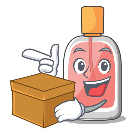 With box parfum botlle shape on the cartoon vector illustration