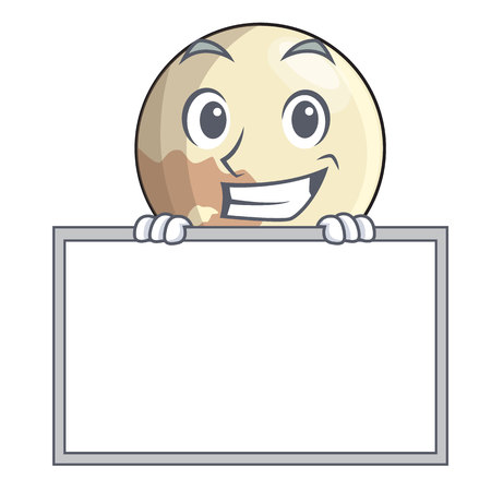 Grinning with board planet pluto in the cartoon form
