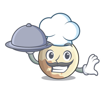 Chef with food Pluto cartoon planet above the sky vector illustration 向量圖像