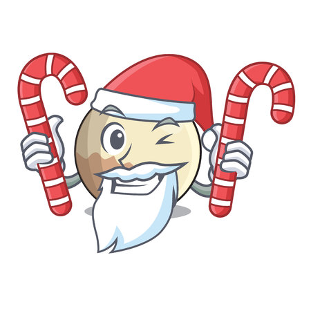 Santa with candy Pluto planet isolated in with mascot vector illustration