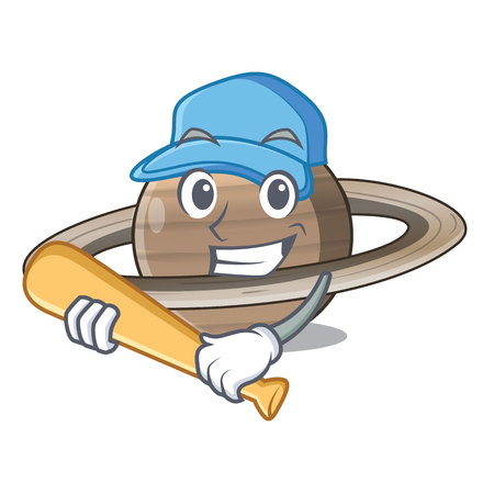 Playing baseball Pluto saturn isolated in with mascot vetor illustration