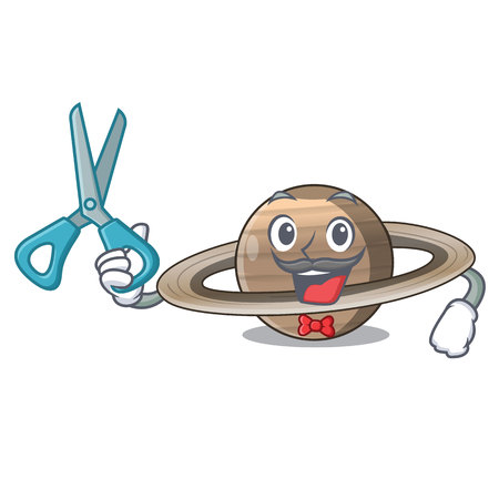 Barber Pluto saturn isolated in with mascot vetor illustration
