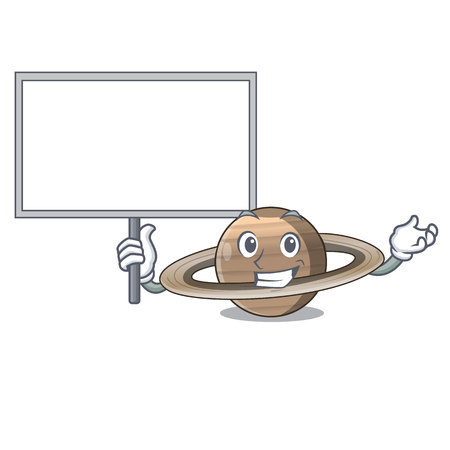 Bring board Pluto saturn isolated in with mascot vetor illustration