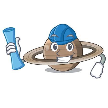 Architect image of planet saturn in character vector illustration Ilustração