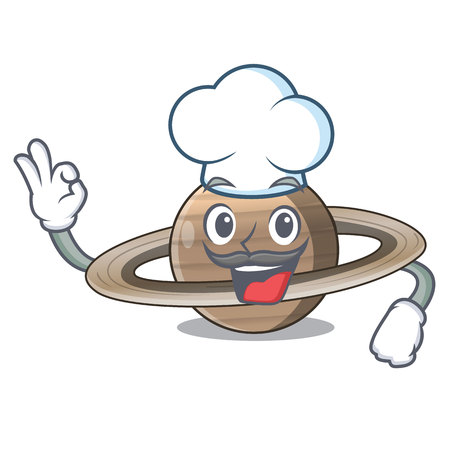 Chef image of planet saturn in character vector illustration