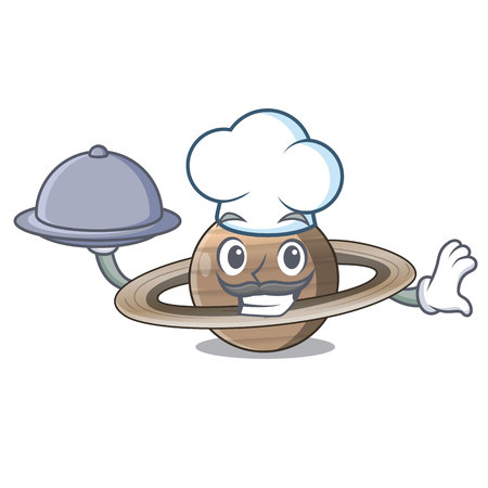 Chef with food planet saturn in the cartoon form
