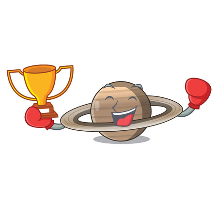 Boxing winner planet saturn above the sky cartoon vrctor illustration Çizim