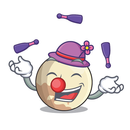 Juggling Pluto planet isolated in with mascot vector illustration