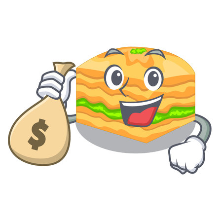 With money bag cartoon baklava is served on plate vector illustration