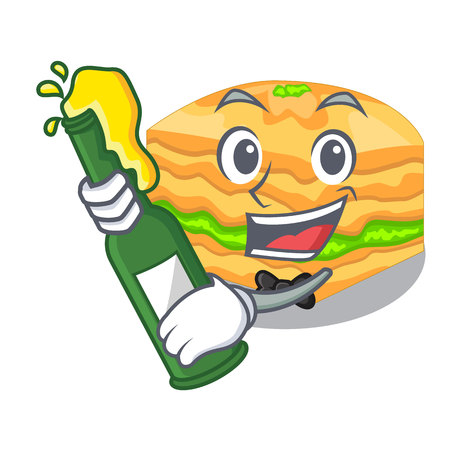 With beer baklava is isolated the with mascot vector illustration