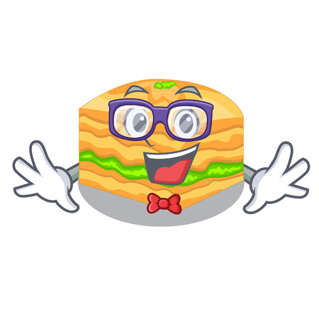 Geek cartoon baklava on the wooden boardsvector illustration