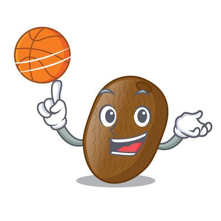 With basketball kiwifruit slices in the shape cartoon vector illustration Ilustração