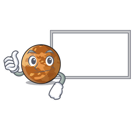 Thumbs up with board planet mercury above the sky cartoon
