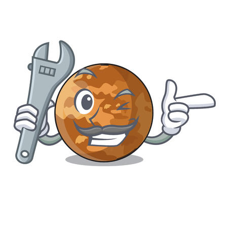 Mechanic plenet mercury isolated in a mascot vector illustration