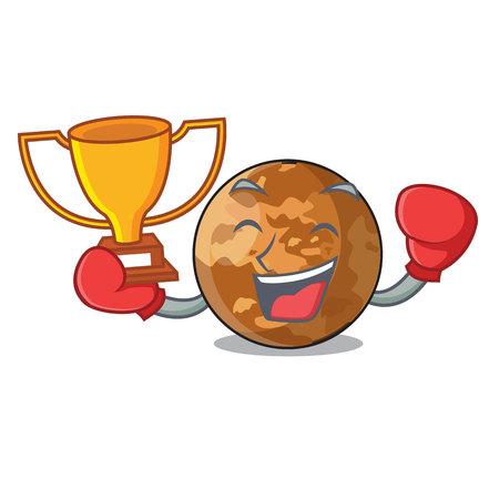 Boxing winner plenet mercury isolated in a mascot vector illustration Illustration