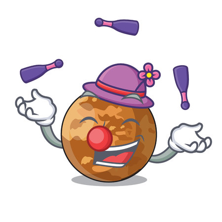 Juggling plenet mercury isolated in a mascot vector illustration