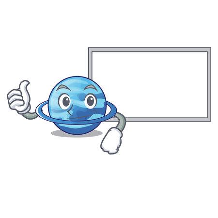Thumbs up with board plenet uranus images in character form vector illustration Vektoros illusztráció