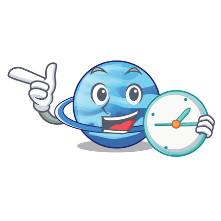 With clock uranius plenet is isolated on mascot vector illustration Illustration