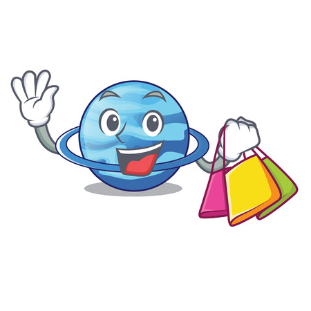 Shopping uranius plenet is isolated on mascot vector illustration
