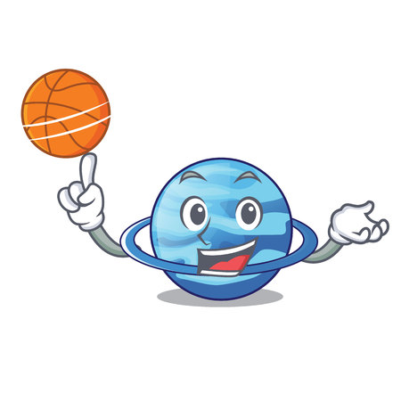 With basketball plenet uranus images in character form vector illustration Illustration