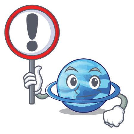 With sign plenet uranus images in character form vector illustration Illustration