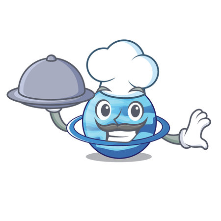 Chef with food planet uranus in the cartoon form