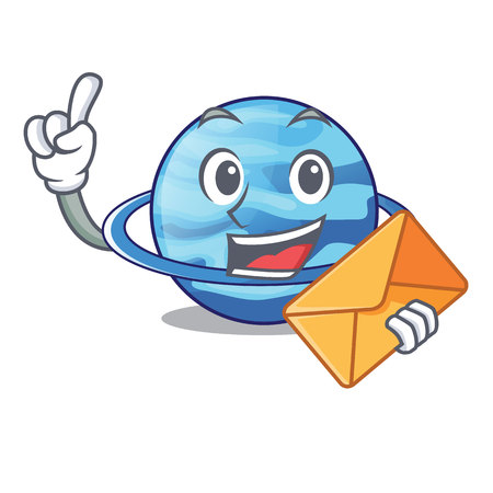 With envelope uranius plenet is isolated on mascot vector illustration