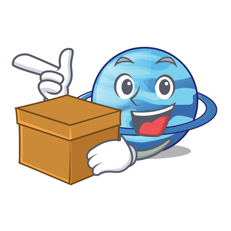With box uranius plenet is isolated on mascot vector illustration Illustration