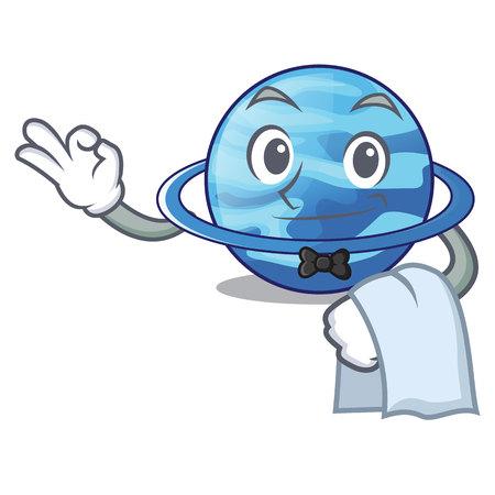 Waiter planet uranus in the cartoon form Vetores