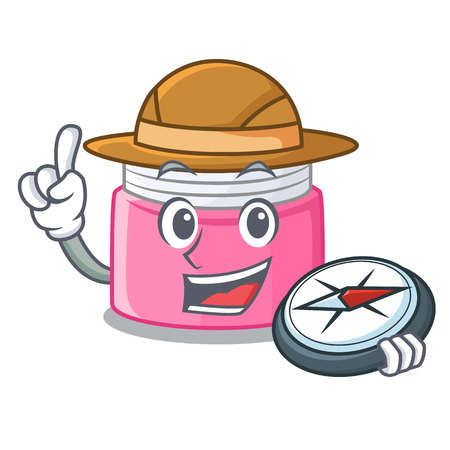 Explorer face cream isolated with the mascot vector illustration