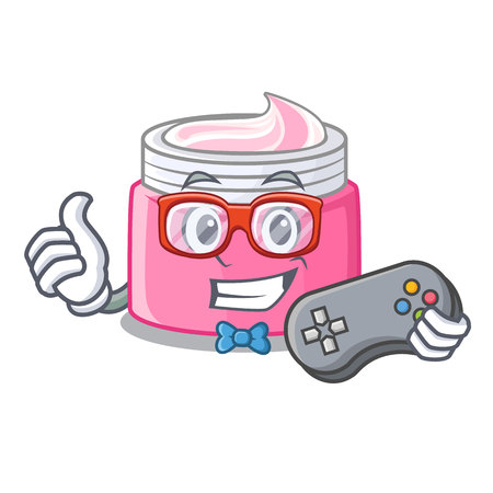 Gamer face cream isolated with the mascot vector illustration