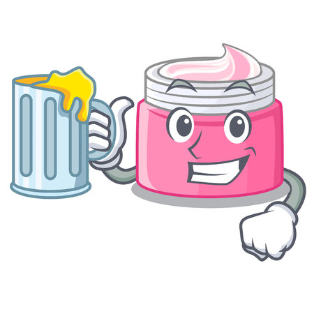 With juice face cream isolated with the mascot vector illustration