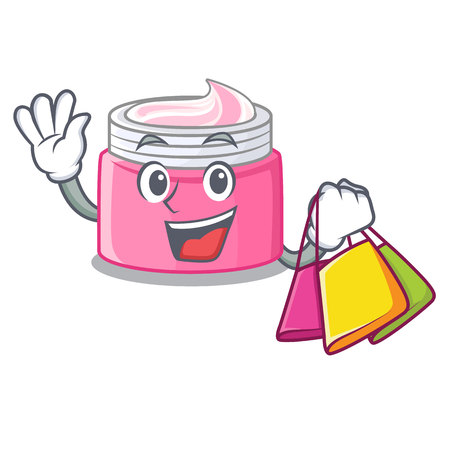 Shopping face cream in the cartoon form vector illustration