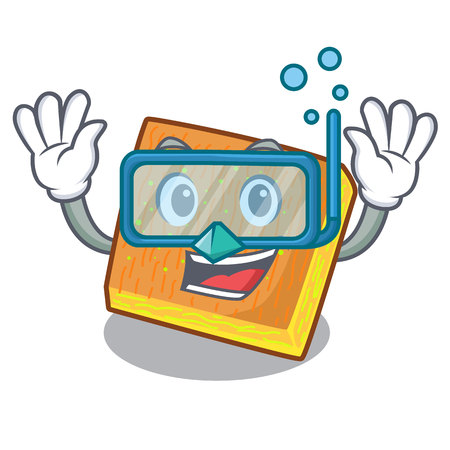 Diving kunafa cartoon on a wooden table vector illustration