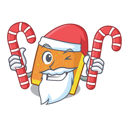 Santa with candy kunafa was isolated from the mascot vector illustration