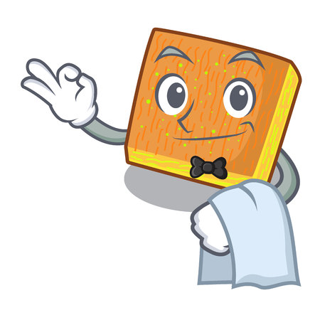 Waiter kunafa bake on the character board vector illustration Illustration