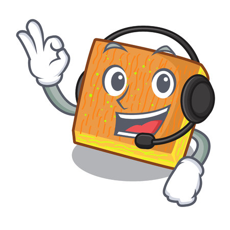 With headphone kunafa was isolated from the mascot vector illustration Illusztráció